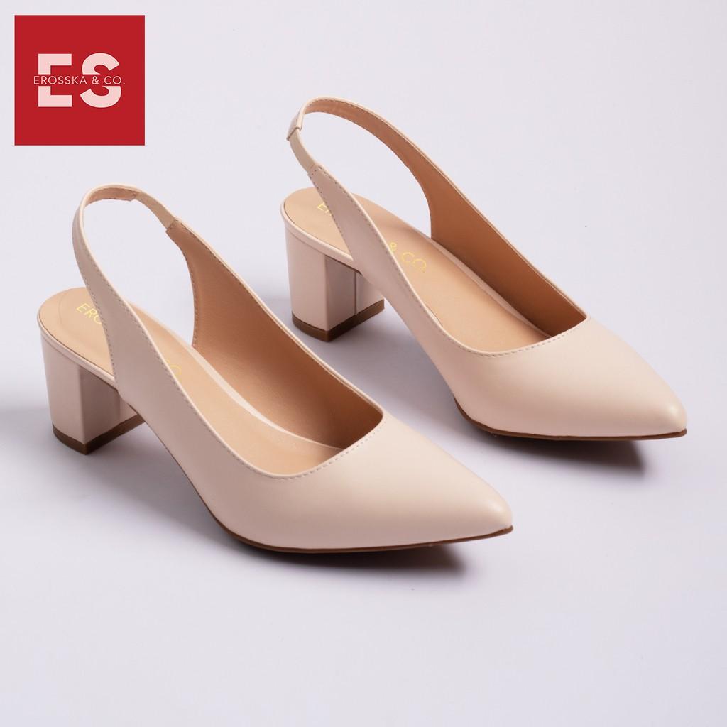 Giày cao gót Erosska thời trang mũi nhọn phối dây hở gót cao 5cm_EH015