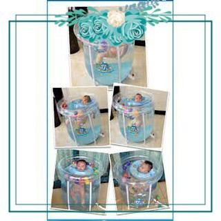 (Hàng Siêu Phẩm) Set bể bơi siêu bền phao hình tròn kèm phao cổ, bơm chân cho bé sơ sinh