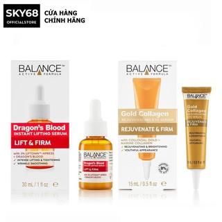 Combo Serum Phục Hồi Da,Ngừa Lão Hóa Tinh Chất Cây Máu Rồng và Tinh châ t dưỡng mắt Balance active formula gold collagen