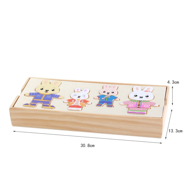 Wooden Change Clothes Toy Dress Paired Jigsaw Puzzles Educational Toys Birthday Gift