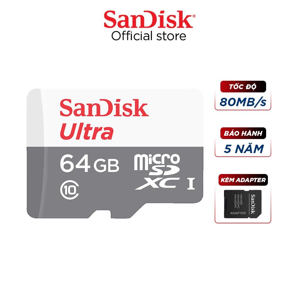 Thẻ nhớ micro SDXC Sandisk 64GB upto 80MB/s 533X Ultra UHS-I + Adapter Chính hãng