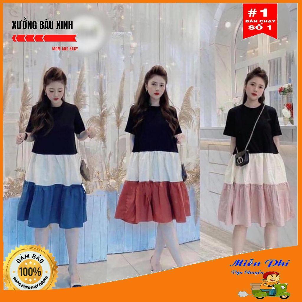 Váy bầu thời trang thiết kế chất cotton 100% co giãn tốt pha đũi hàng freesize từ 45 đến 70kg