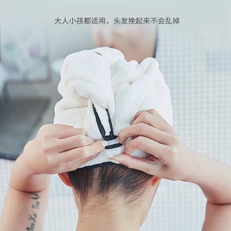 Khăn lau khô tóc, khăn quấn ủ tóc vải bông êm dịu da đầu loại 1