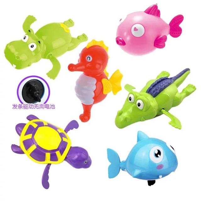 Set 05 đồ chơi động vật bơi dưới nước chạy bằng dây cót
