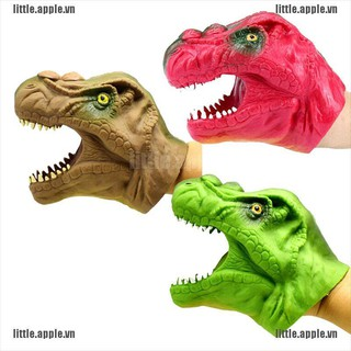 [Little] Soft vinyl TPR dinosaur hand puppet animal head hand puppets kids Toys gift [VN]