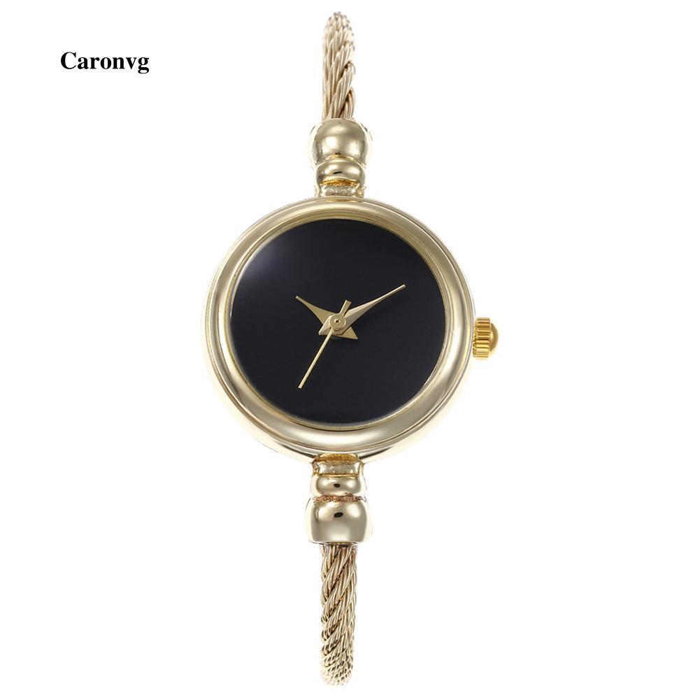 Helenvh Fashion Women No Scale Round Dial Alloy Wire Band Bangle Quartz Wrist Watch