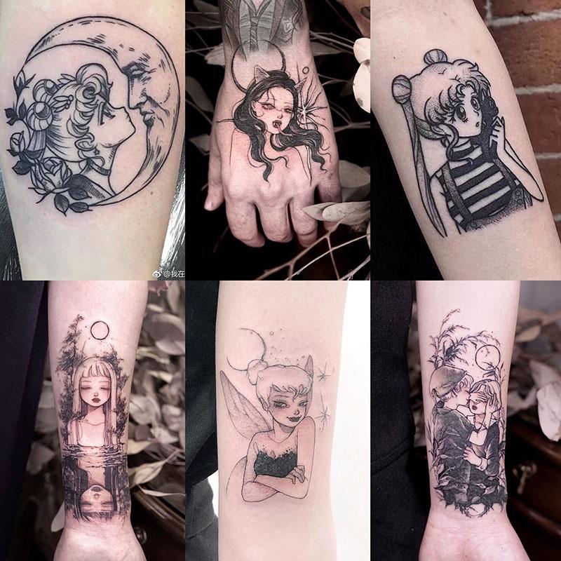 [Mã FA8888 giảm 15% đơn 99K] Hình Xăm Dán Mini Trắng Đen 30 Mẫu Tattoo Chống Thấm Nước Cá Tính