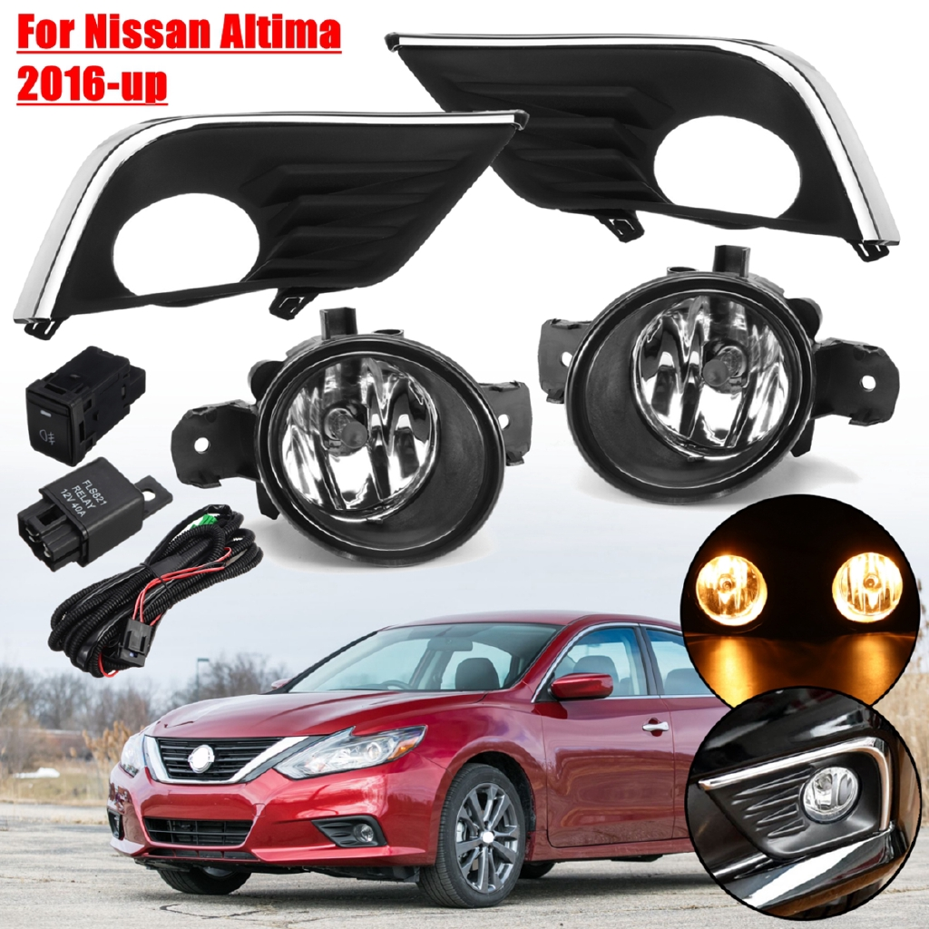 Pair Front Bumper Fog Light Lamp with Grilles w/ Harness For Nissan Altima 2016