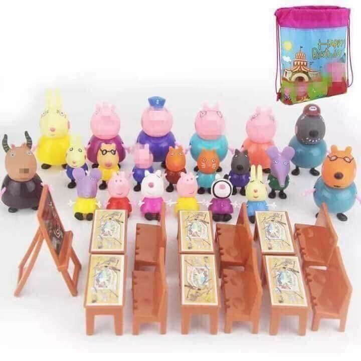 combo sỉ 5-7 bộ đồ chơi lớp học heo peppa 21 con