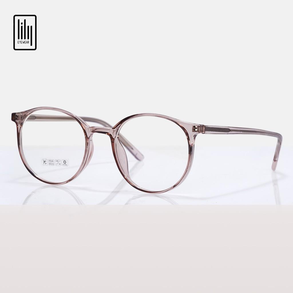 Gọng kính cận nam nữ Lilyeyewear nhựa dẻo, kiểu dáng mắt tròn, đa dạng màu sắc - 8243
