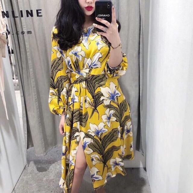 Váy hoa vàng thắt eo lệch zara
