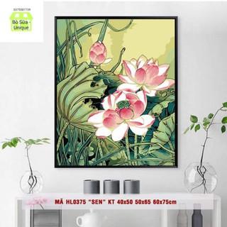 tranh sơn dầu số hóa sen hồng
