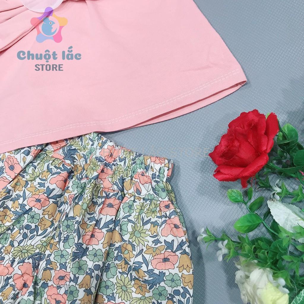 Sét bộ quần áo bé gái siêu xinh kiểu áo 2 dây nơ to quần hoa ống rộng cho bé từ 10kg đến 20kg( màu vàng, trắng, hồng)