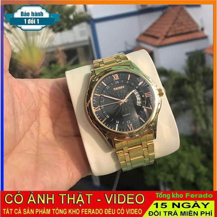 Đồng hồ nam Skmei 9069 dây thép không gỉ màu vàng kim