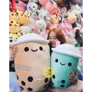 Gấu bông gối ôm bình trà sữa nhồi bông chất liệu vải nhung Hàn Quốc