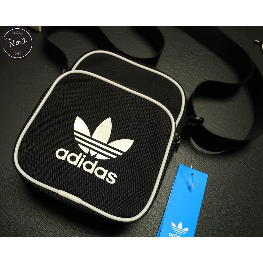 Túi Đeo Chéo Adidas Originals Mini Vintage vải ( đen chữ trắng)