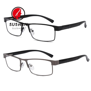SUSHEN New Fashion Eyeglasses Magnifying +1.00~+4.0 Diopter Business Reading Glasses Flexible Portable Ultra Light Resin Men Metal Titanium Alloy Eye wear Vision Care/Multicolor