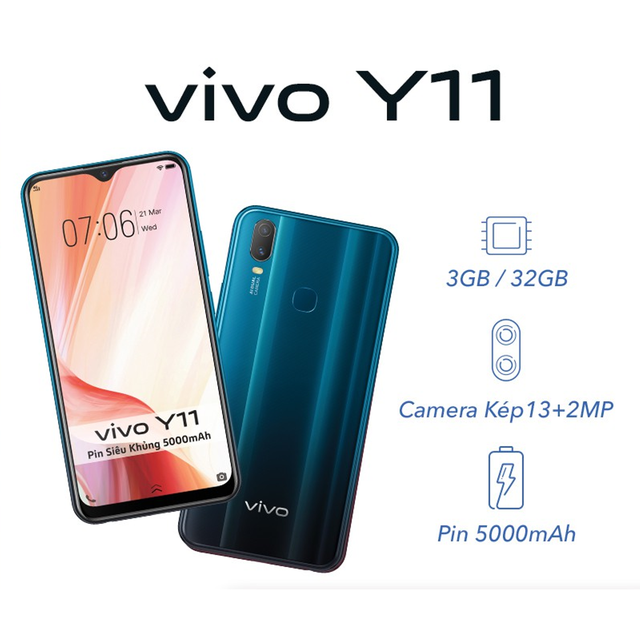 Điện Thoại Vivo Y11 3Gb + 32Gb - Hàng Chính Hãng