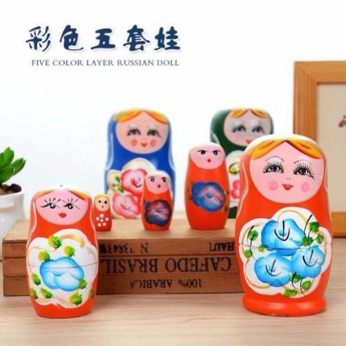 ✳♟Pack of wooden five layers paint painted Russian doll baby girl craft Decoration toys