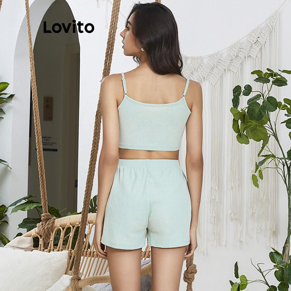 Mặc gì đẹp: Gọn tiện với  Bộ đồ mặc ở nhà Lovito thiết kế áo 2 dây màu trơn sọc gân L02031 (Gray)