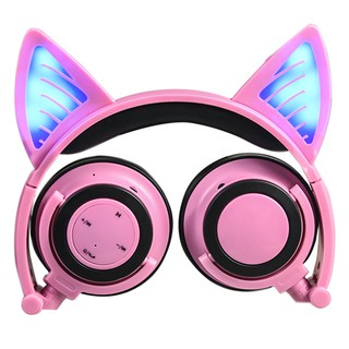 Cat ear Foldable Flashing Glowing headphones With LED light