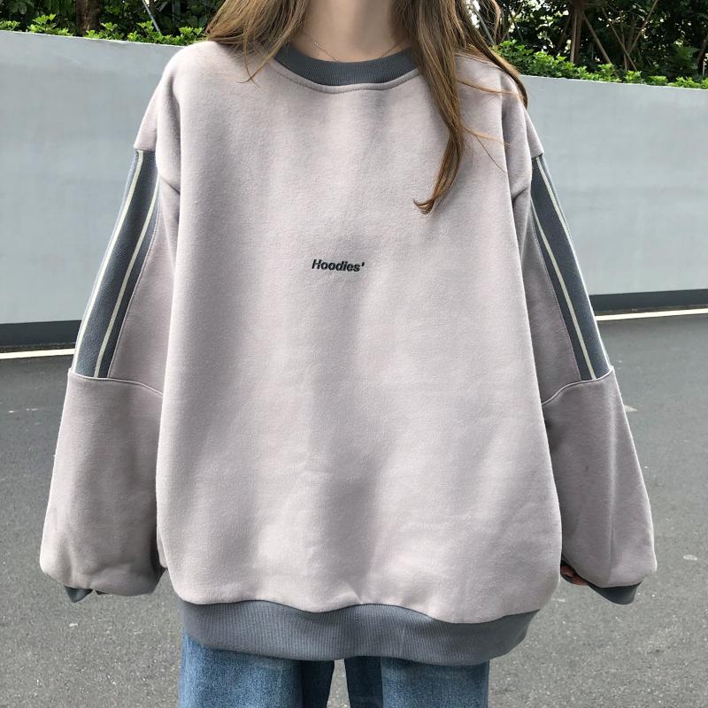 Áo nỉ dài tay dáng rộng phong cách Hàn Quốc trẻ trung thời trang c