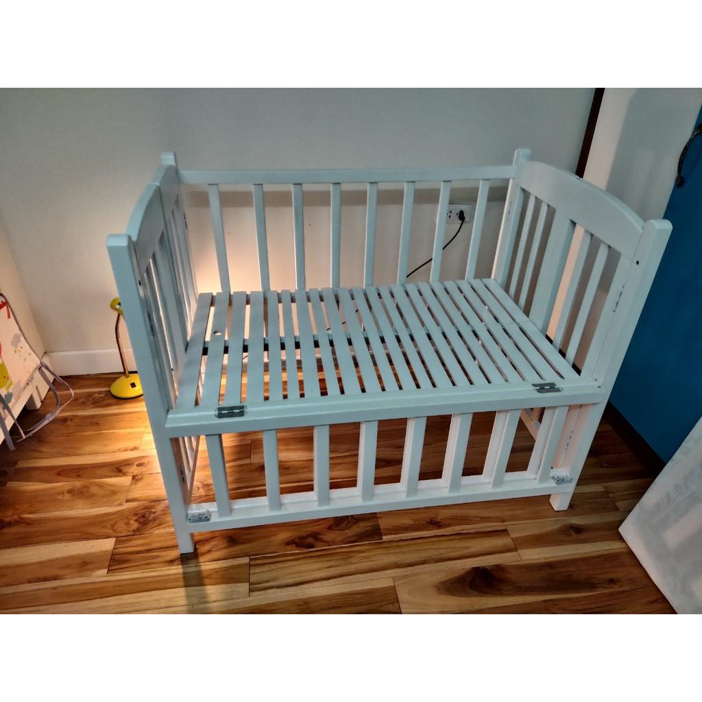 Giường cũi trẻ em Trắng (100% gỗ tự nhiên, sơn PU cao cấp) làm giường cho bé ngủ riêng, tạo...