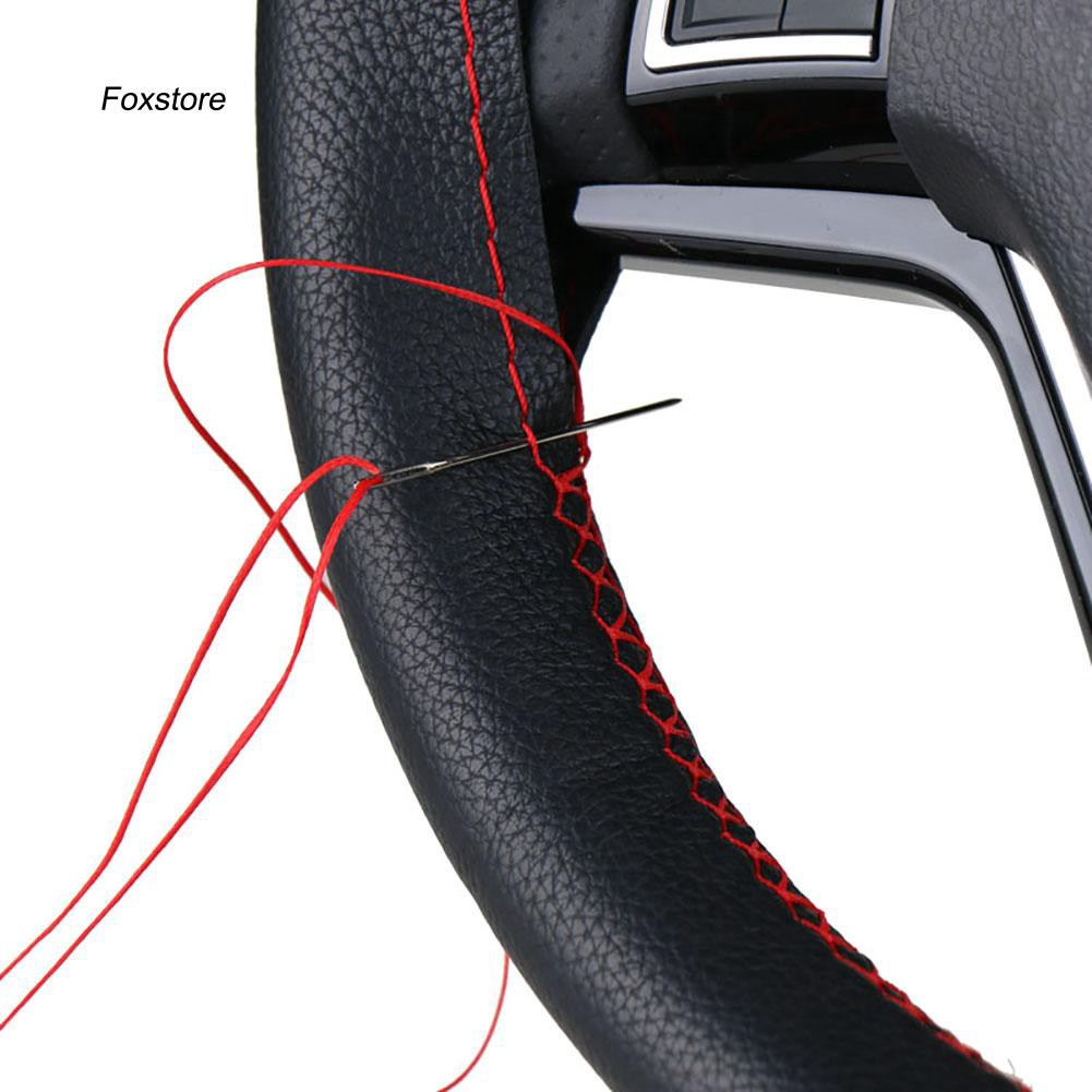 FXTE_DIY Soft Microfiber Faux Leather Car Steering Wheel Covers with Needle Thread