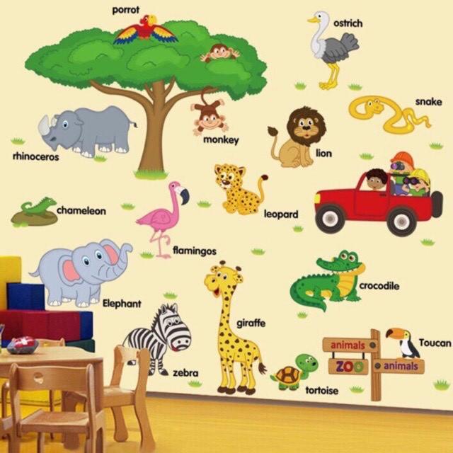 tranh dán tường cho bé [CỰC_RẺ] - Decal dán tường cho bé - hình dán tường cho bé có hình ảnh thật