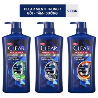 Dầu tắm gội Clear Men 3 trong 1 630gr Tắm Gội Dưỡng