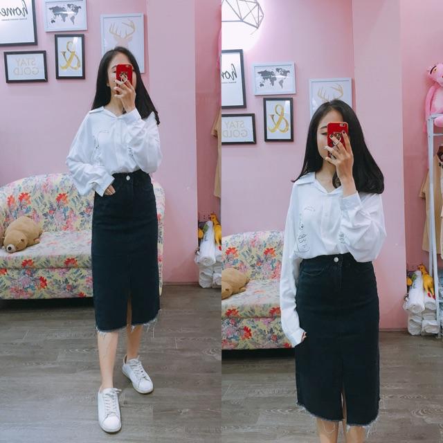 1050853973 - Chân váy bò dài - SM - màu đen