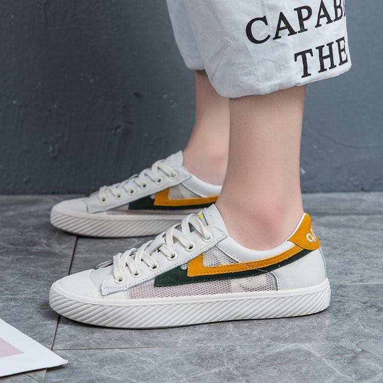 【จัดส่งฟรี】นเกาหลีใหม่ของรองเท้าตาข่ายด้านล่างแบนป่านักเรียน ins ถนนชนะสุทธิสีแดง