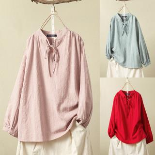 *Women Cotton Linen Long Sleeve Lace Up Casual Baggy Blouses*