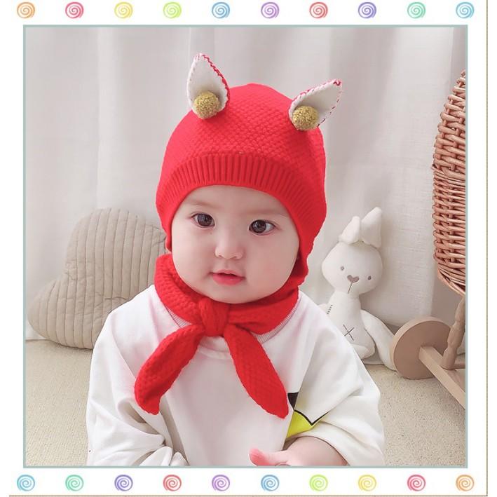 [FREESHIP đơn từ 0đ] Set mũ + khăn len tai mèo đính hạt bông nhỏ xinh cho bé (0-12m)