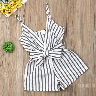 Mu♫-Newborn Infant Baby Girls Clothes Sleeveless Romper Striped Outfit