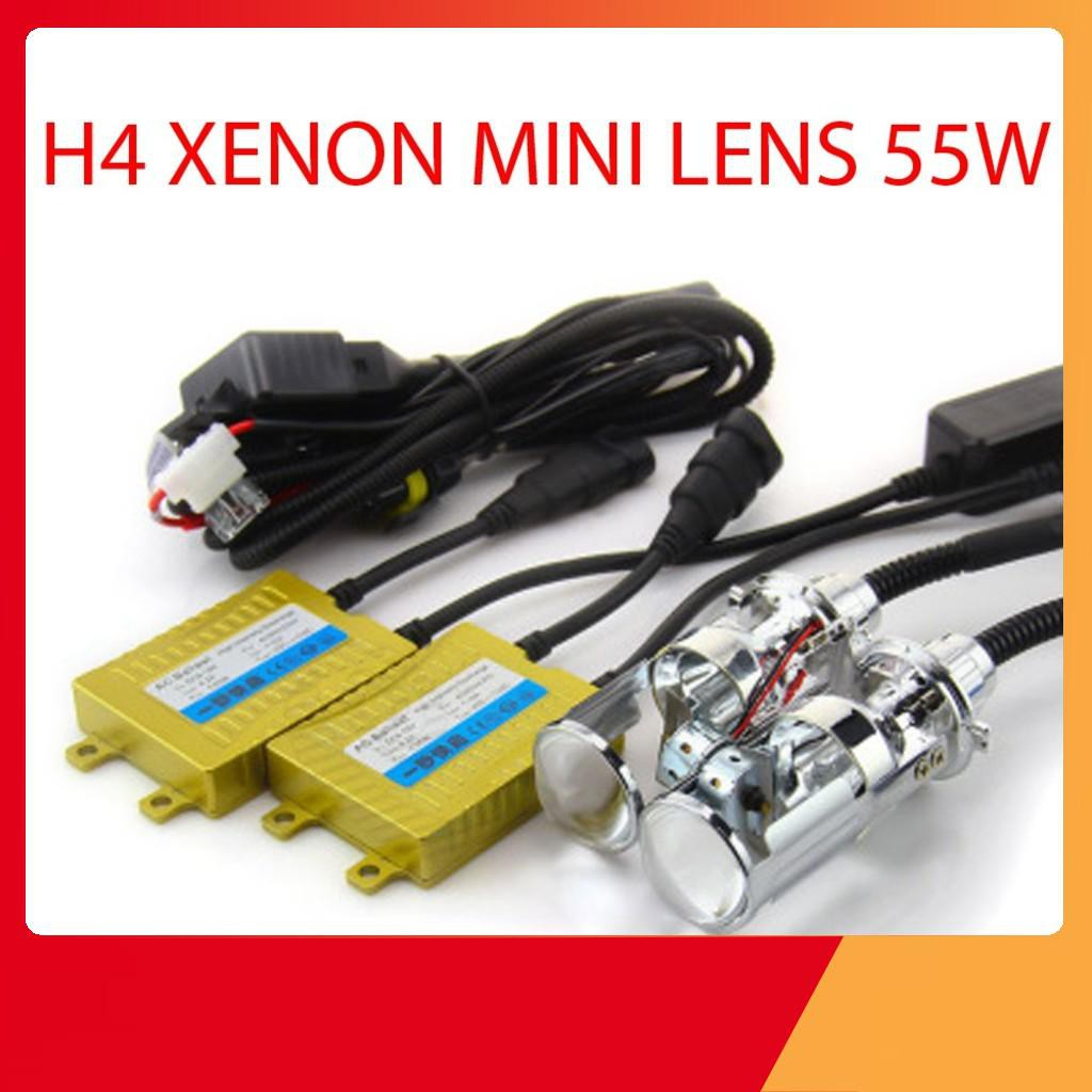 XENON H4 55W MINI LENS bộ 2 bóng kèm balash - Tiện lợi