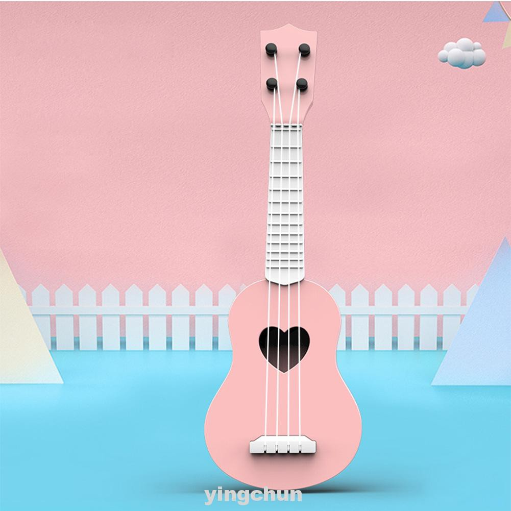 Early Education Simulation Musical Instrument Playing ABS Plastic Mini Portable Toddler Baby With 4 Strings Ukulele Toy