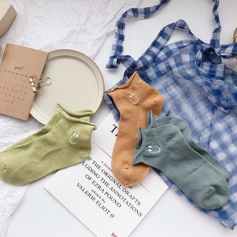 Vớ Tất Cổ Ngắn Mặt Cười Xoăn [FREESHIP] vải cotton kháng khuẩn, hàng loại 1 bao đổi trả dành cho cả nam và nữ