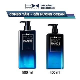 Combo Tắm Gội Hương Ocean BLUEMAN Nước Hoa Siêu Thơm 500ml+400ml