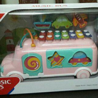 Xe ô tô Music bus màu hồng