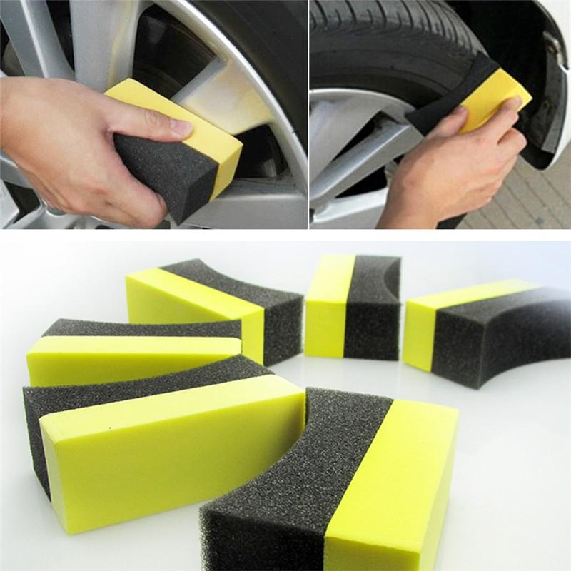 2pcs Car Tire Waxing Polishing Compound Washing Sponge Cleaning Pad Brush New