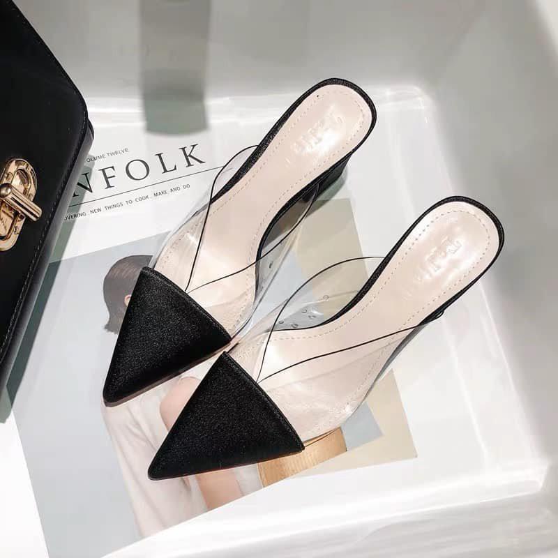 giày sục cao gót mũi nhọn phối mika