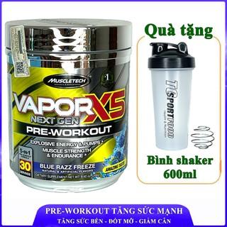 Pre-Workout Vapor X5 của MuscleTech hương Blue Razz tăng sức mạnh sức bền trước tập 30 lần dùng thumbnail