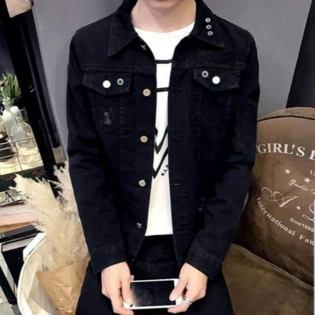 Áo Khoác Nam ÁO KHOÁC JEAN CAO CẤP ĐEN TRƠN VNXK MS 30 Fashionteengroup - Áo khoác jeans