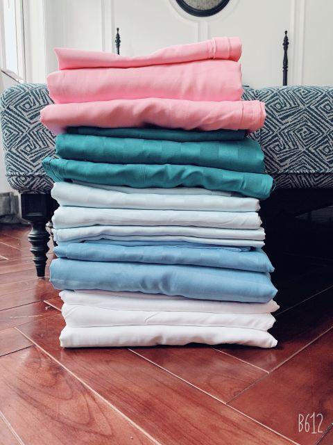 Trọn bộ cotton kẻ sọc 3f sét 4 món hàng nhập khẩu Loại 1  dầy dặn