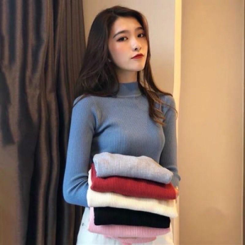 🌸 Áo len nữ cổ 3 phân áo len tăm hàng quảng châu