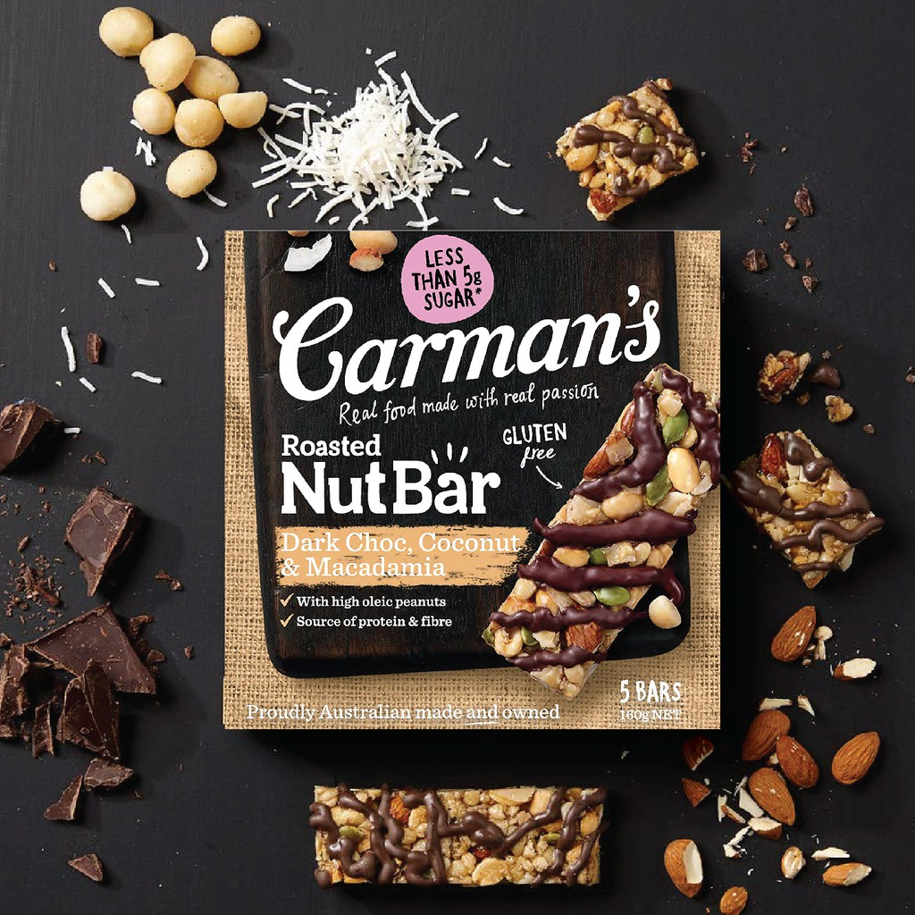 Thanh Hạt Carman's Nut Bar Dark Choc, Coconut, Macadamia - Chocolate đen,  Dừa, Hạt Maca - 160g   Shopee Việt Nam
