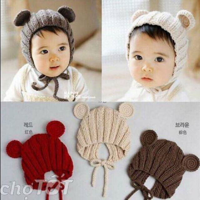 Mũ len tai chuột, nón len tai gấu cho bé trai bé gái