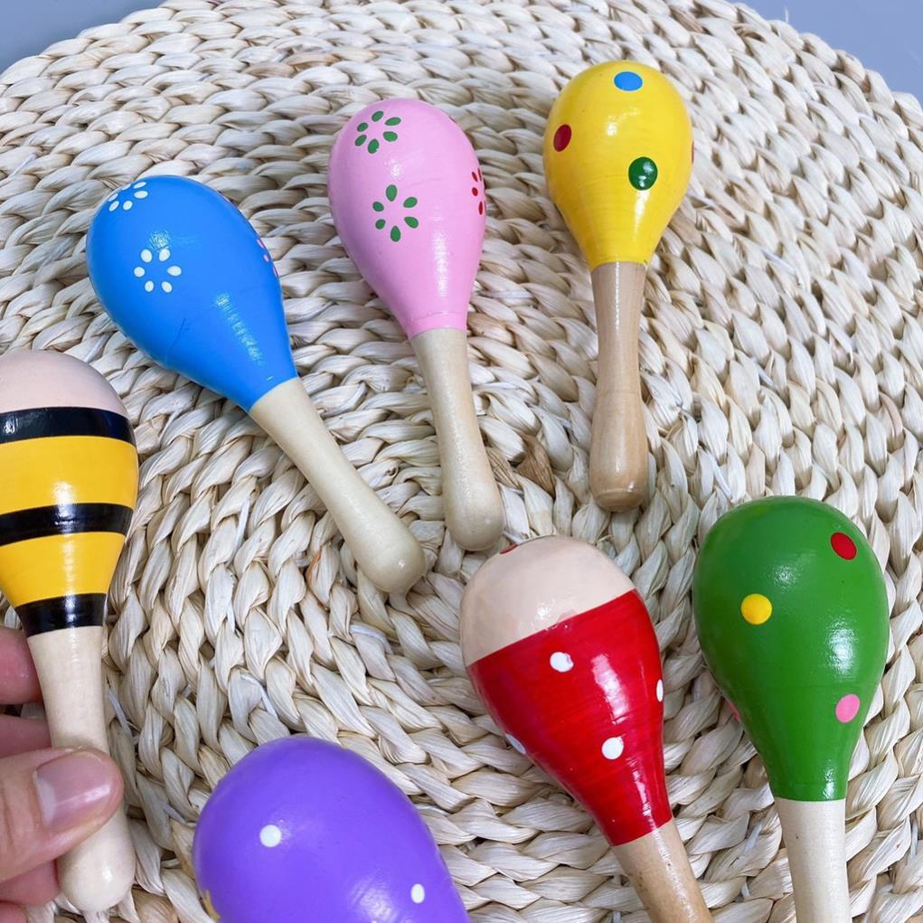 Đồ chơi Lục lạc, Xúc xắc gỗ đầu tròn nhiều màu sắc cho bé [Kho buôn mẹ Và bé]
