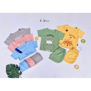 Bộ quần áo thun lạnh K.Woo tai thú cộc tay siêu dễ thương cho bé trai và bé gái